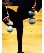 Vintage Turquoise Drop 92.5% Sterling Silver Earrings - $11.30