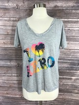 Aeropostale Womens Top Size XS Gray Graphic Loose Fit Tee I Love Aero Shirt - $6.93