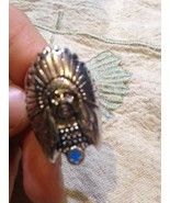 Nemesis Large Silver Native American Chief With Turquoise Size 12 Ring - $23.38