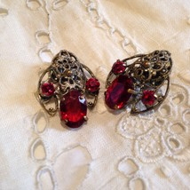 Vintage Red Austrian Crystal Button Clip Earrings  - $37.40