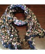 Nemesis Vintage Victorian Style  Black Flowered Summer Scarf Wrap - $14.03
