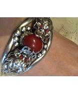 Nemesis Tribal Carnillian Dragon Adjustable White Silver Brass Bacelet  ... - $32.73
