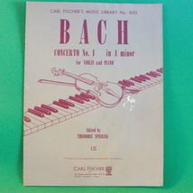 Vintage 1964 Carl Fischer Sheet Music, Bach Concerto No. 1 in A Minor - $3.95