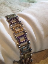 Nemesis Vintage Red Mosaic Gemstones 92.5% Sterling Silver Rhodium Bracelet - $224.40