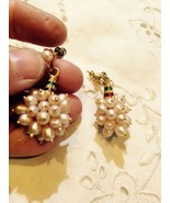 Vintage Pink Pearl Drop 92.5% Sterling Silver Gold Finish Earrings - $42.08