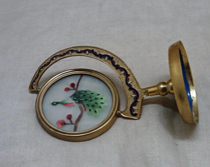 Vintage Decorative Peacock Sphere // Enameled Metal Asian Look Peacock in Glass
