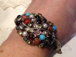 Vintage Handmade Victorian Colored Gemstone 92.5 Sterling Silver Cuff Br... - $164.56