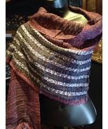 Sheer Knit Bright Metallic long Scarf Wrap - $23.38