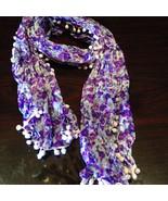 Nemesis Vintage Victorian Style  Purple Flowered Summer Scarf Wrap - $14.03