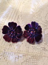 Vintage Bugandy Flower Button Clip Earrings Mother of Pearl - $37.40