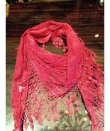 Red Lace Sheer Triangle Fringed Shawl Wrap Scarf - $14.03