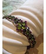 Art Deco Vintage Mosaic Peridot Ruby Sterling Silver Rhodium Bracelet - $219.73