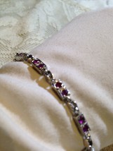 Nemesis Antique Small Ruby 92.5% Sterling Silver 7 inch Tennis Bracelet - $60.78