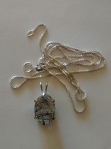 beautiful tourmalinated quartz pendant and chain-solid .925 sterling silver - $69.95
