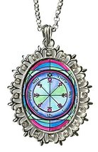 Solomons 6th Moon for Causing Rain Huge Silver Medallion Rhinestone Pendant - $24.95