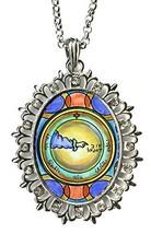 Solomons 3rd Moon for Travel Protection Huge Silver Medallion Rhinestone... - $24.95