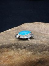 Native American Sterling Silver Turquoise ZUNI Turtle Pin Pendant Set - $167.46