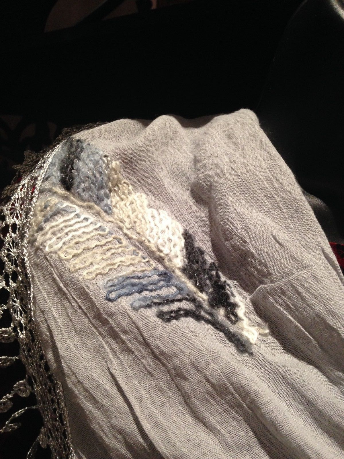 Nemesis Vintage Victorian Style Antique Pale Grey Lace Embroidered Summer Scarf
