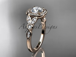 14kt rose gold diamond engagement ring with a Moissanite center stone ADLR179 - $1,825.00