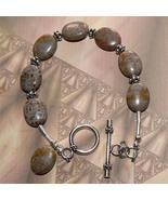 .925 Sterling Silver Fossil Agate Bracelet Handmade OOAK - $30.00