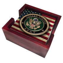 ARMY LOGO USA FLAG SANDSTONE 4 PIECE WOOD COASTER SET MADE IN USA - $45.12