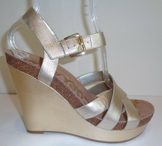 Sam Edelman Size 9.5 M NELSON Jute Gold Leather Wedge Sandals New Womens Shoes - $107.91