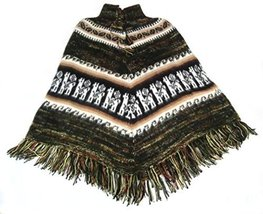 Alpakaandmore Women Poncho Cusquena Alpaca Wool Original From Peru (Green Tone) - $113.85
