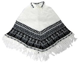 Alpakaandmore Women Poncho Cusquena Alpaca Wool Original From Peru (White) - $113.85