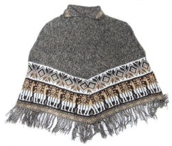 Alpakaandmore Women Poncho Cusquena Alpaca Wool Original From Peru (Darkgrey) - $113.85