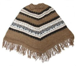 Alpakaandmore Women Poncho Cusquena Alpaca Wool Original From Peru (Brown) - $113.85
