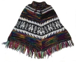Alpakaandmore Women Poncho Cusquena Alpaca Wool Original From Peru (Red Tone) - $113.85