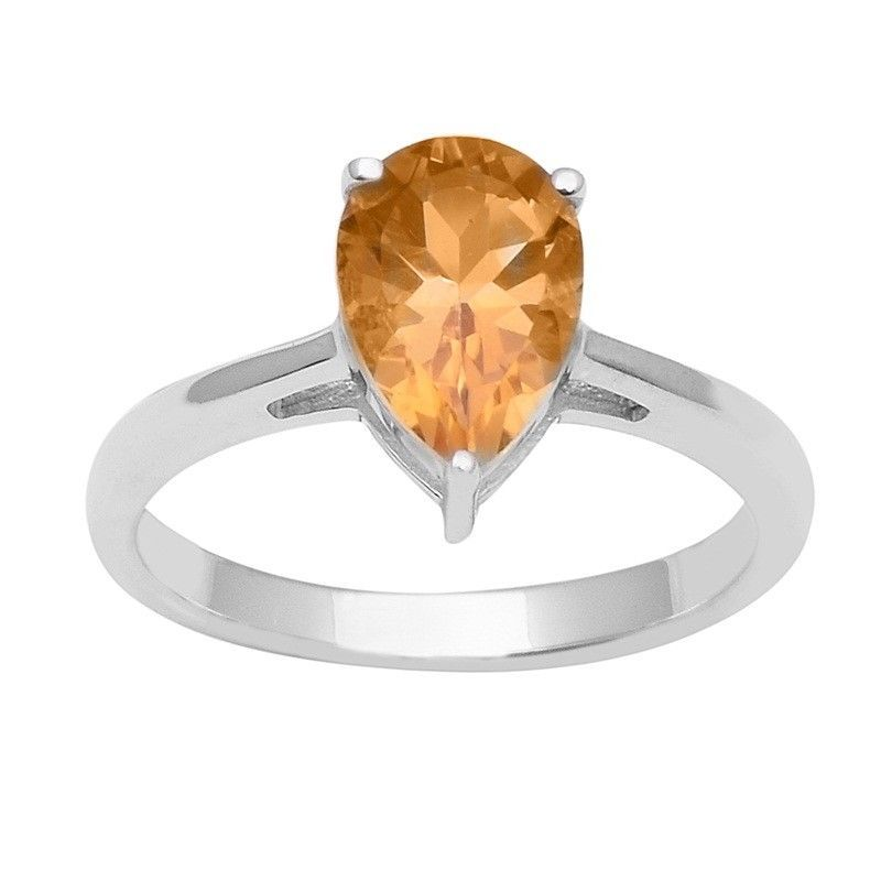 Lovely Design Citrine 925 Sterling Silver Ring Shine Jewelry Size-9 SHRI1469