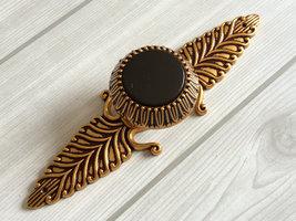 Black Glass Dresser Knob Drawer Pull Knobs Cabinet Door Knob Back Plates Brass - $8.50
