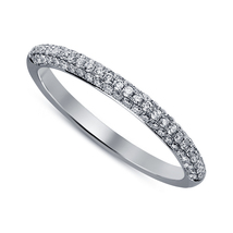 Women's Lab Diamond Jewelry 14k White Gold Fn Engagement Anniversary Ban... - £36.65 GBP