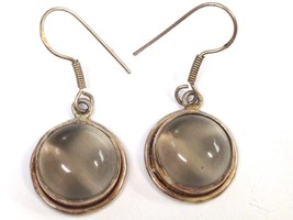 Vintage Unusual Yellowish color Sterling Silver Quartz Dangle Earrings 925 - $19.79