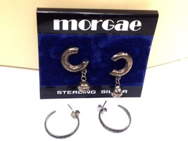 2 STERLING SILVER VINTAGE HOOP EARRINGS LOT - $19.79