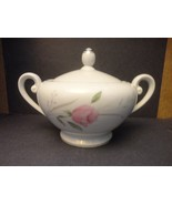 DIAMOND CHINA STERLING ROSE SUGAR BOWL PINK ROSES FLORAL FLOWERS WITH LID - $9.00