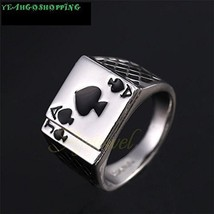 Men's Jewelry Chunky 18K White Gold Plated Black Enamel Spades Poker Ring Men...