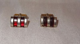 Vintage Swank Gold Tone Ruby Red Lucite Stripe Inlay Cufflinks - $21.04