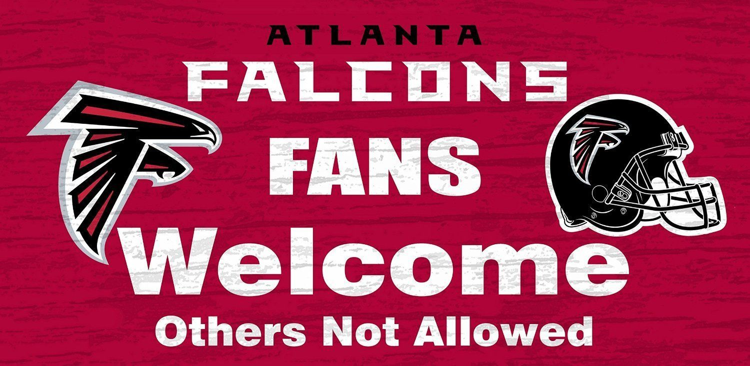 "ATLANTA FALCONS FANS WELCOME WOOD SIGN with ROPE 12"" X 6"" NFL FOOTBALL MAN CAVE!"