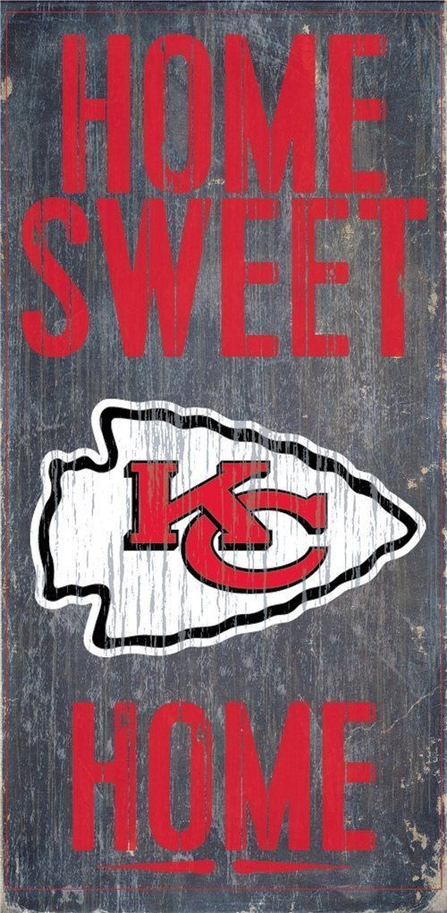 "KANSAS CITY CHIEFS HOME SWEET HOME WOOD SIGN and ROPE 12"" X 6""  NFL MAN CAVE!"