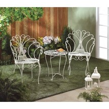 #10015833 Peacock Inspired White Metal Bistro 3pc Set - $278.97