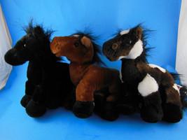 Ganz Webkinz Plush Horses  Black Stallion Pinto & Arabian Set of 3 Three - $9.94