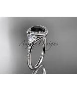 14kt white gold diamond engagement ring, Black Diamond center stone ADLR201 - $1,875.00