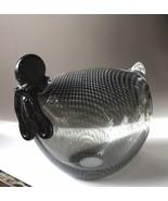 """New Handmade Chicken Hen Smoked Gray Black Glass Figure 5"""" - $13.85"""