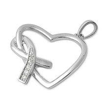 Sterling Silver CZ Ribbon and Heart pendant New d63 - $10.59