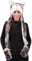 3-in-1 Animal Cold Weather Winter Wolf Husky Hat Scarf w/ Hand Warmers M... - £10.76 GBP