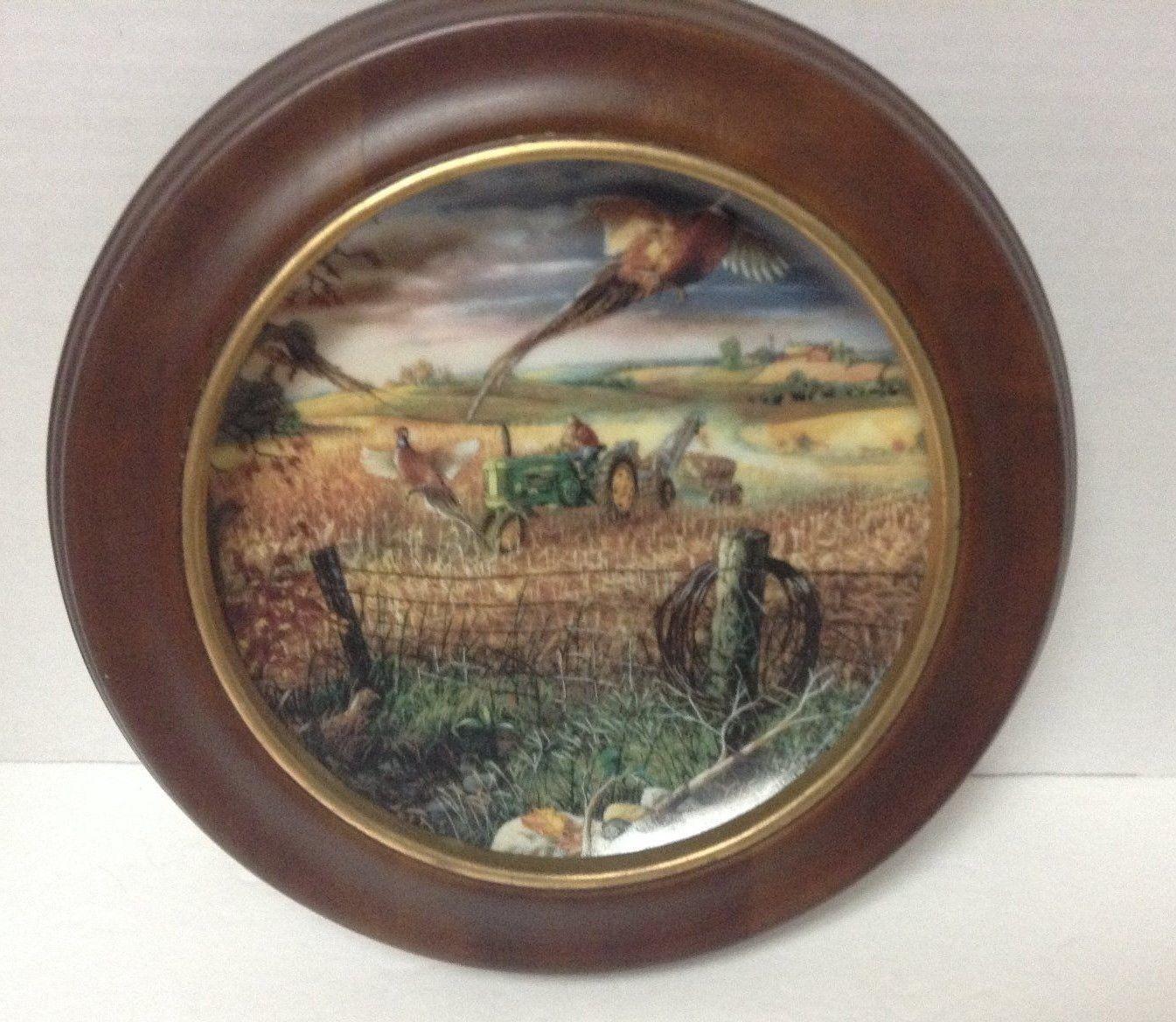 Autumn Harvest Life Farm Limited Edition John Deere Wood Framed Plate C3781