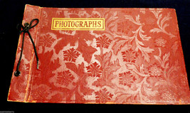 VINTAGE EMBOSSED BURGUNDY RED COLOR LEATHER PHOTO ALBUM PHOTOGRAPHS - $74.25