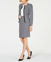 Le Suit Jewel Neck Fly Away Plaid Tweed Skirt Suit (Bright Navy Multi)si... - $79.99